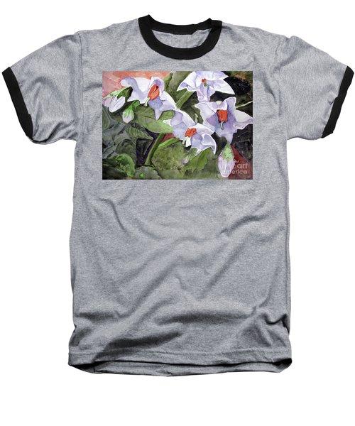 Amanda's Blue Potato Flowers Baseball T-Shirt