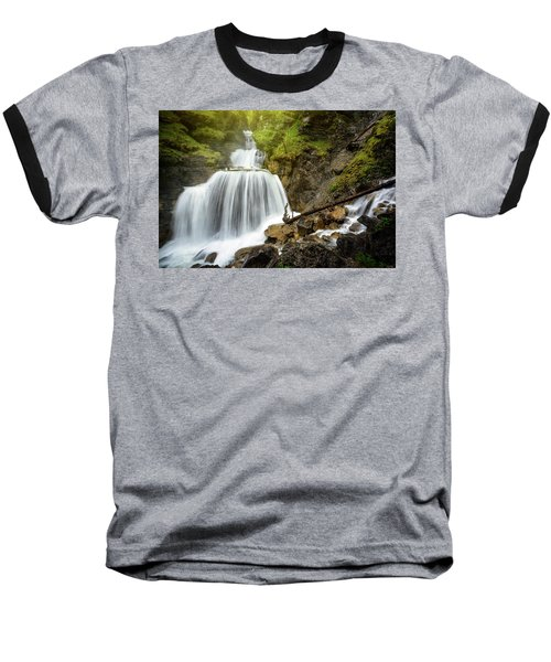 Amazing Mountain Waterfall Near Farchant Village At Garmisch Partenkirchen, Farchant, Bavaria, Germany. Baseball T-Shirt