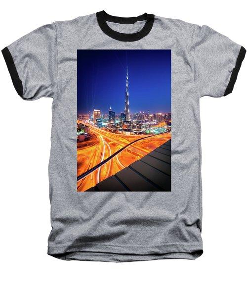 Amazing Night Dubai Downtown Skyline, Dubai, United Arab Emirates Baseball T-Shirt