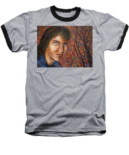 Baseball T-Shirt featuring the painting Amber Glow by Natalie Holland