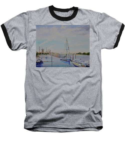 Baseball T-Shirt featuring the painting Amelia Island Port by AnnaJo Vahle