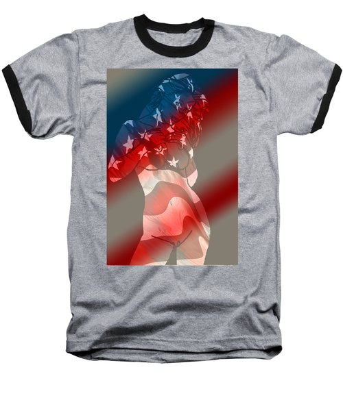 Baseball T-Shirt featuring the painting America by Tbone Oliver