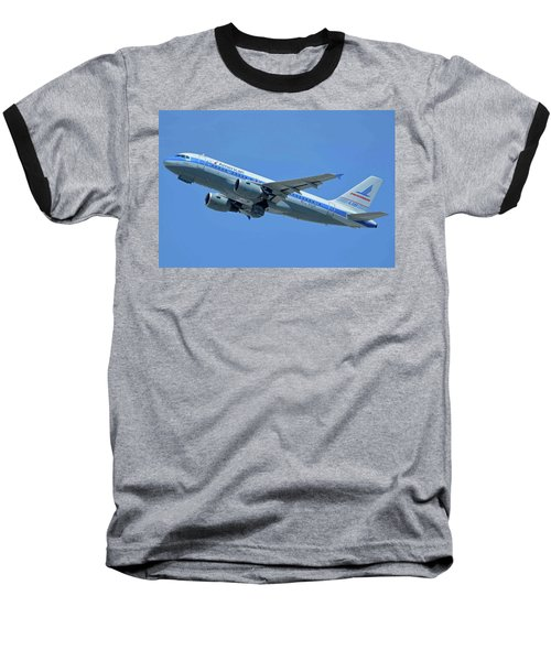 Baseball T-Shirt featuring the photograph American Airbus A319-0112 N744p Piedmont Pacemaker Los Angeles International Airport May 3 20 by Brian Lockett