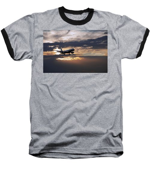 American Aircraft Landing At The Twilight. Miami. Fl. Usa Baseball T-Shirt