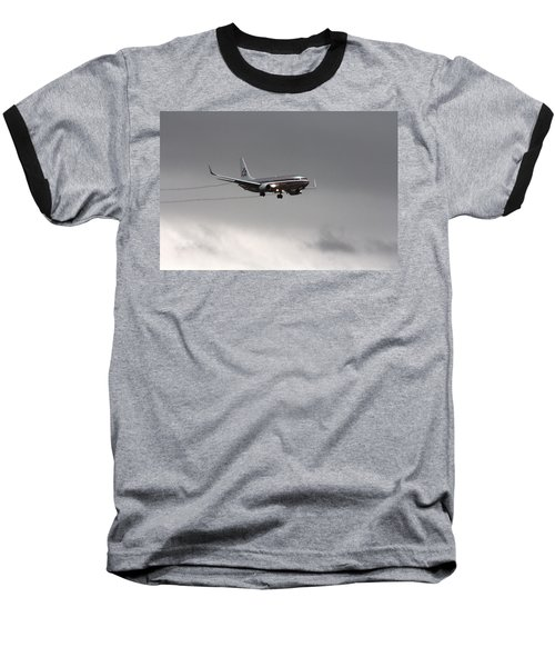 American Airlines-landing At Dfw Airport Baseball T-Shirt by Douglas Barnard