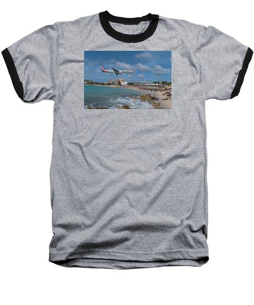 American Airlines Landing At St. Maarten Airport Baseball T-Shirt