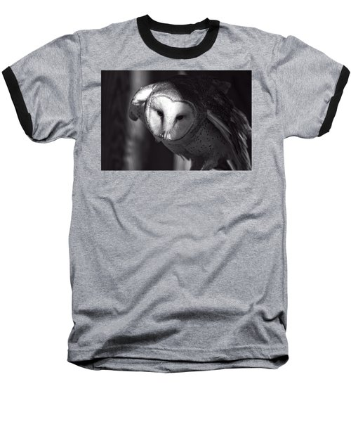 American Barn Owl Monochrome Baseball T-Shirt