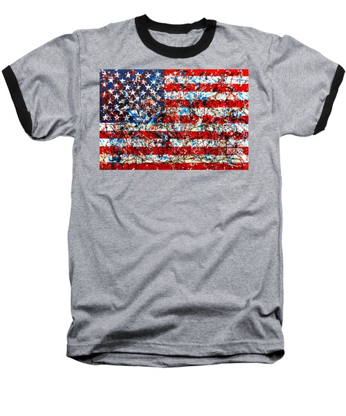 Baseball T-Shirt featuring the painting American Flag Abstract With Trees by Genevieve Esson
