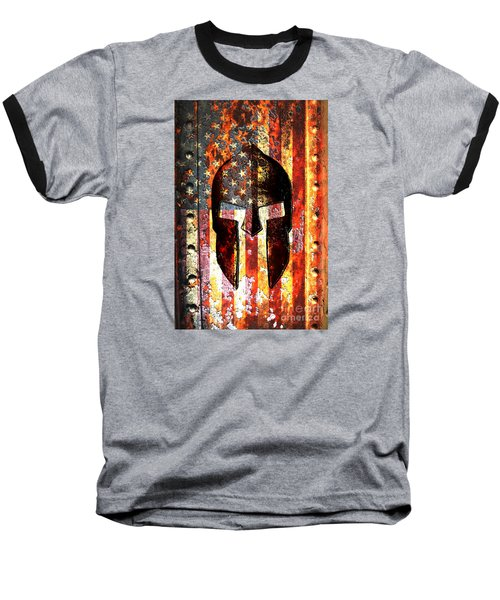 American Flag And Spartan Helmet On Rusted Metal Door - Molon Labe Baseball T-Shirt by M L C