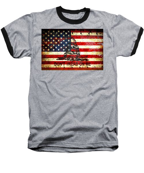 American Flag And Viper On Rusted Metal Door - Don't Tread On Me Baseball T-Shirt by M L C