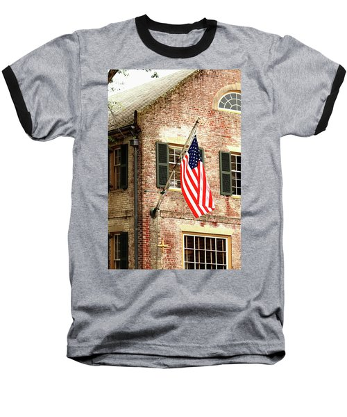 Baseball T-Shirt featuring the photograph American Flag In Colonial Williamsburg by Emanuel Tanjala