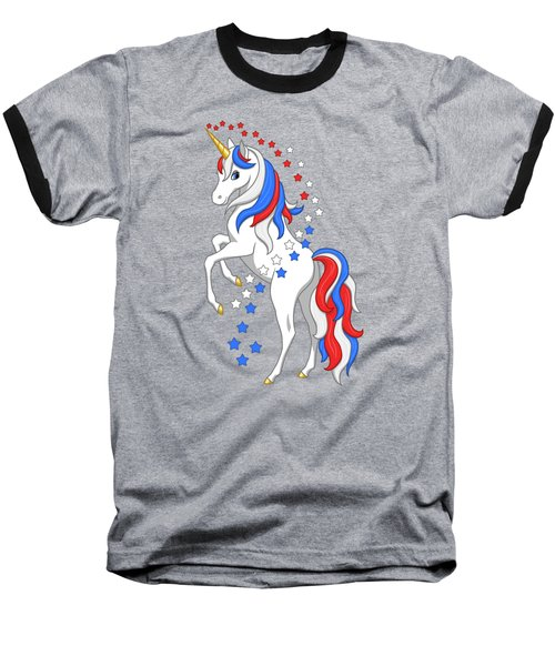 American Flag Patriotic Unicorn Baseball T-Shirt