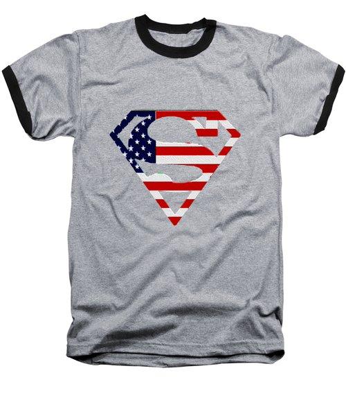 American Flag Superman Shield Baseball T-Shirt by Bill Cannon