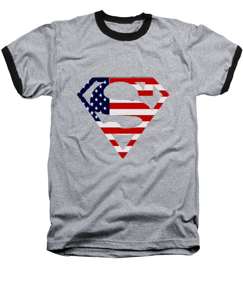 American Flag Superman Shield Baseball T-Shirt