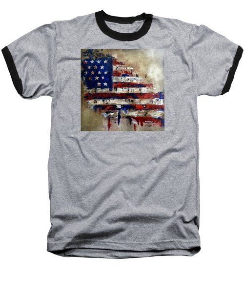 American Flag Baseball T-Shirt by Tom Fedro - Fidostudio