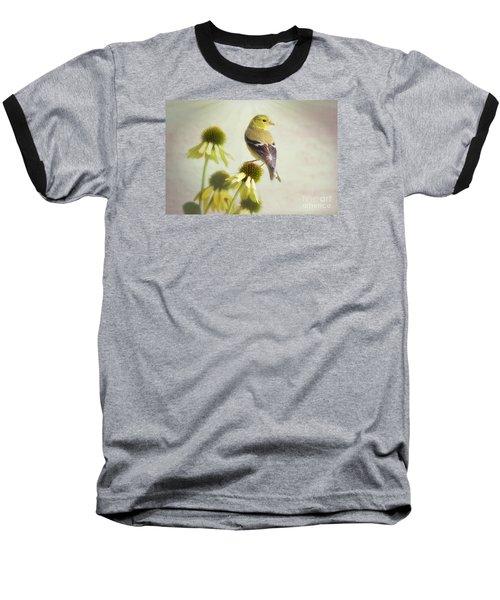 American Goldfinch On Coneflower Baseball T-Shirt