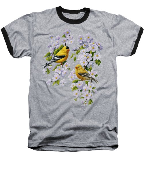 American Goldfinch Spring Baseball T-Shirt by Crista Forest