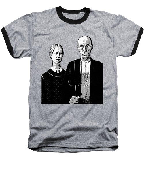 American Gothic Graphic Grant Wood Black White Tee Baseball T-Shirt