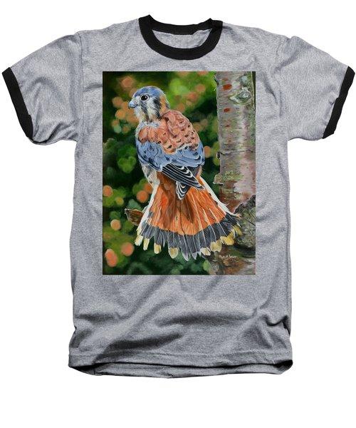 American Kestrel In My Garden Baseball T-Shirt by Phyllis Beiser