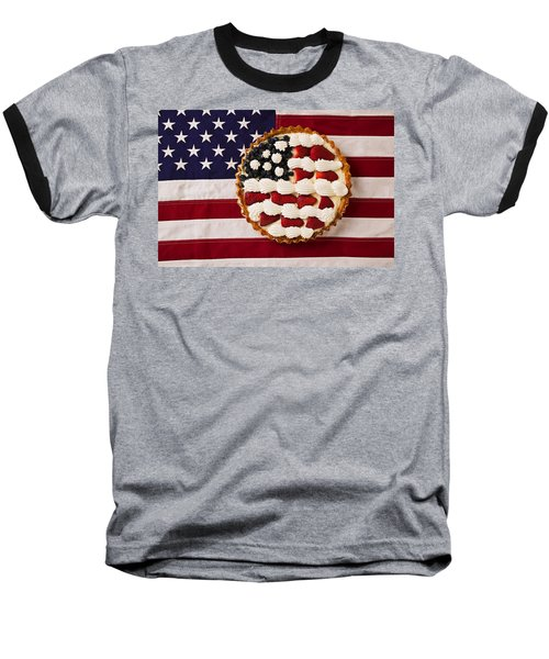 American Pie On American Flag  Baseball T-Shirt