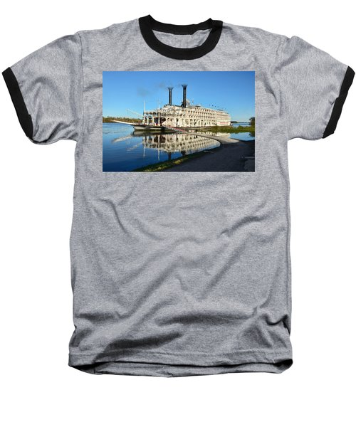 American Queen Steamboat Reflections On The Mississippi River Baseball T-Shirt by David Lawson