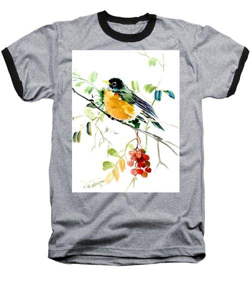 American Robin Baseball T-Shirt by Suren Nersisyan
