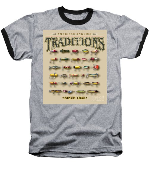 Baseball T-Shirt featuring the painting American Traditions Lures by JQ Licensing Jon Q Wright