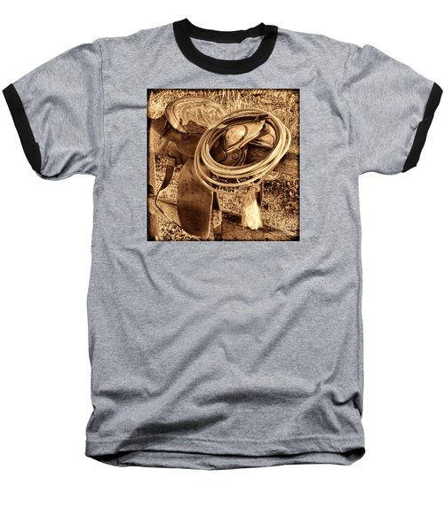 American West Legend Rodeo Western Lasso On Saddle Baseball T-Shirt by American West Legend By Olivier Le Queinec