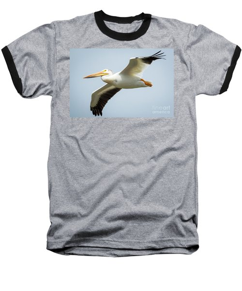 Baseball T-Shirt featuring the photograph  American White Pelican Flyby  by Ricky L Jones