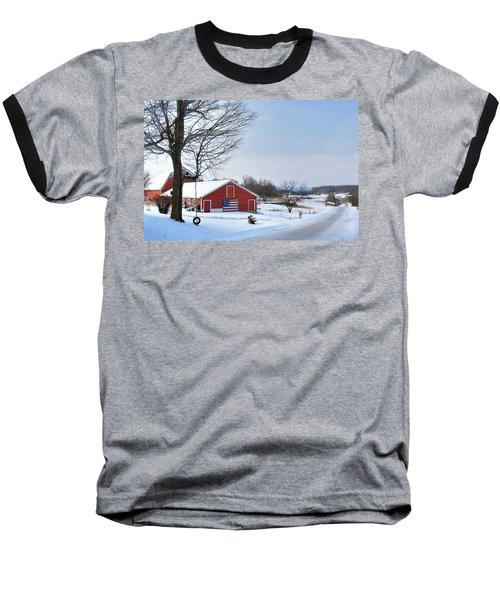 Baseball T-Shirt featuring the digital art Americana Barn In Vermont by Sharon Batdorf