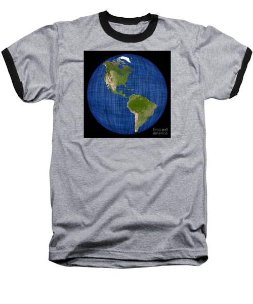 Americas On A Globe The Western Hemisphere Baseball T-Shirt by Wernher Krutein