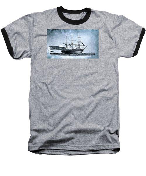 Amerigo Vespucci Sailboat In Blue Baseball T-Shirt by Pedro Cardona