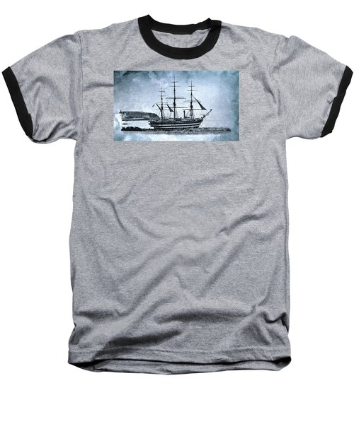 Amerigo Vespucci Sailboat In Blue Baseball T-Shirt