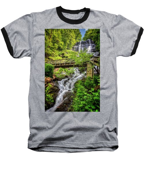 Baseball T-Shirt featuring the photograph Amicalola Falls Top To Bottom by Debra and Dave Vanderlaan