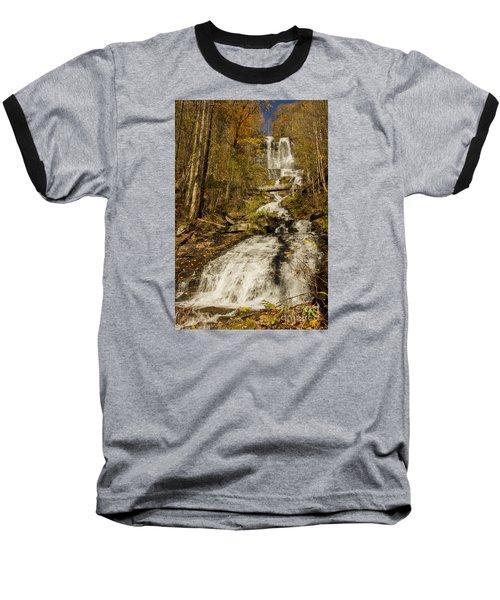 Amicola Falls Gushing Baseball T-Shirt by Barbara Bowen