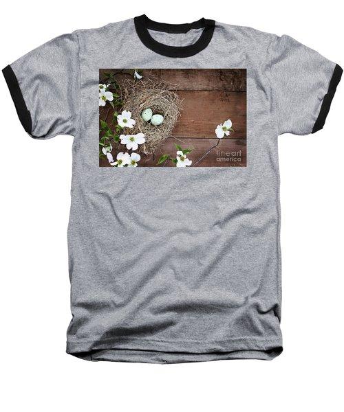 Amid The Dogwood Blossoms Baseball T-Shirt by Stephanie Frey