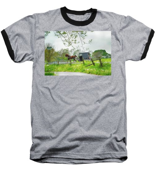 Amish Buggy Along Ronks Road Baseball T-Shirt