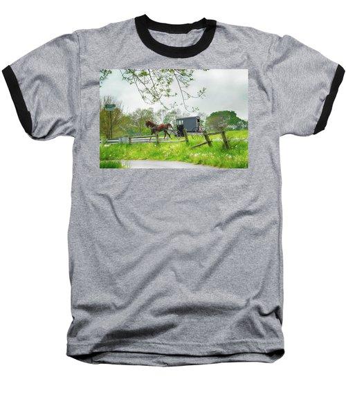 Amish Buggy Along Ronks Road Baseball T-Shirt