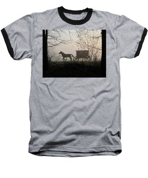 Amish Buggy Foggy Sunday Baseball T-Shirt