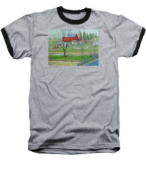 Baseball T-Shirt featuring the painting Amish Farm by Oz Freedgood