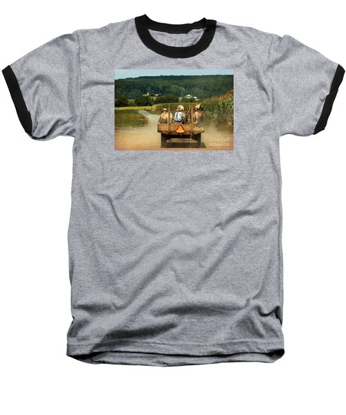 Amish Farmer Three Horses Baseball T-Shirt