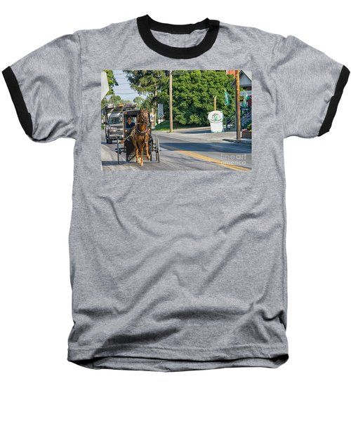Baseball T-Shirt featuring the photograph Amish Girl On The Road by Patricia Hofmeester