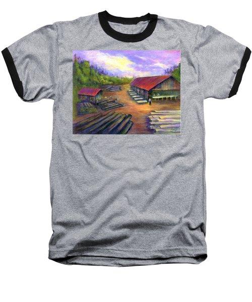 Baseball T-Shirt featuring the painting Amish Lumbermill by Gail Kirtz