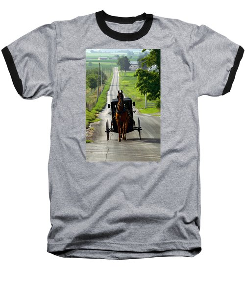 Amish Morning Commute Baseball T-Shirt by Lawrence Boothby