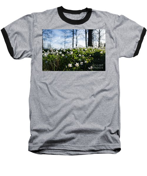 Baseball T-Shirt featuring the photograph Among Windflowers On The Ground by Kennerth and Birgitta Kullman