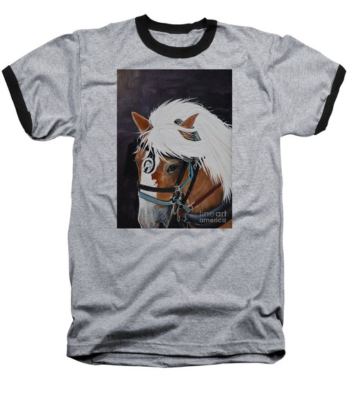 Baseball T-Shirt featuring the painting Amos - Haflinger - Horse by Jan Dappen