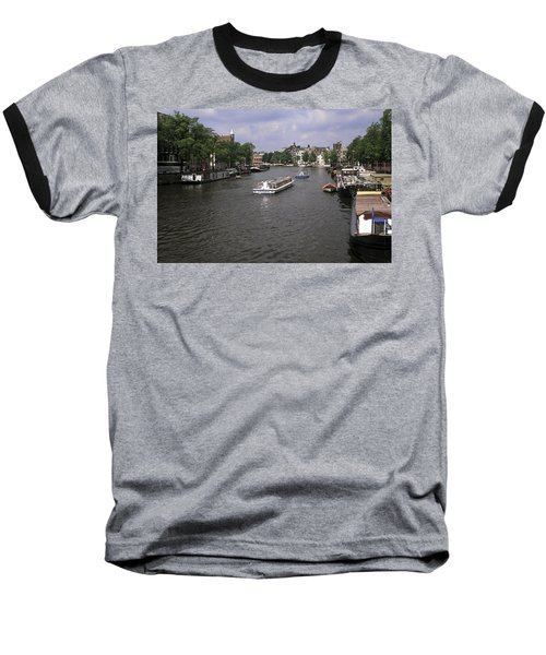 Amsterdam Water Scene Baseball T-Shirt by Sally Weigand