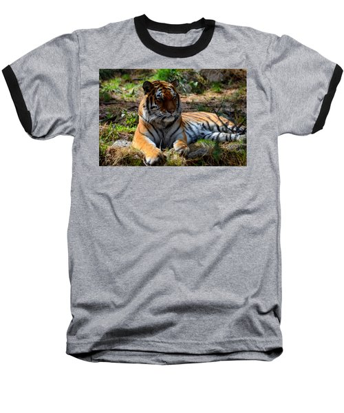 Baseball T-Shirt featuring the mixed media Amur Tiger 1 by Angelina Vick