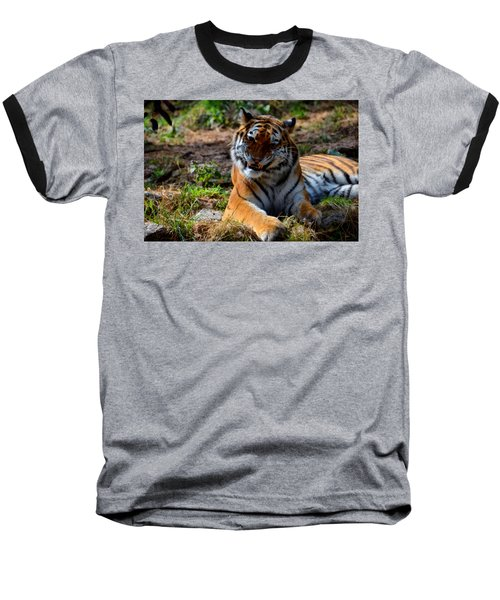 Baseball T-Shirt featuring the mixed media Amur Tiger 4 by Angelina Vick