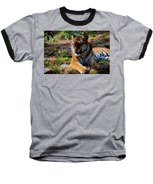 Baseball T-Shirt featuring the mixed media Amur Tiger 5 by Angelina Vick